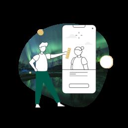 Illustrasjon av en designer og en mobiltelefon.